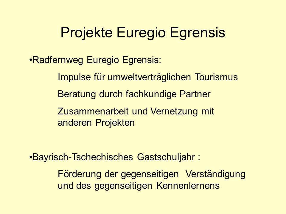 Projekte Euregio Egrensis Radfernweg Euregio Egrensis: Impulse für umweltverträglichen Tourismus Beratung durch fachkundige Partner Zusammenarbeit und Vernetzung mit anderen Projekten Bayrisch-Tschechisches Gastschuljahr : Förderung der gegenseitigen Verständigung und des gegenseitigen Kennenlernens