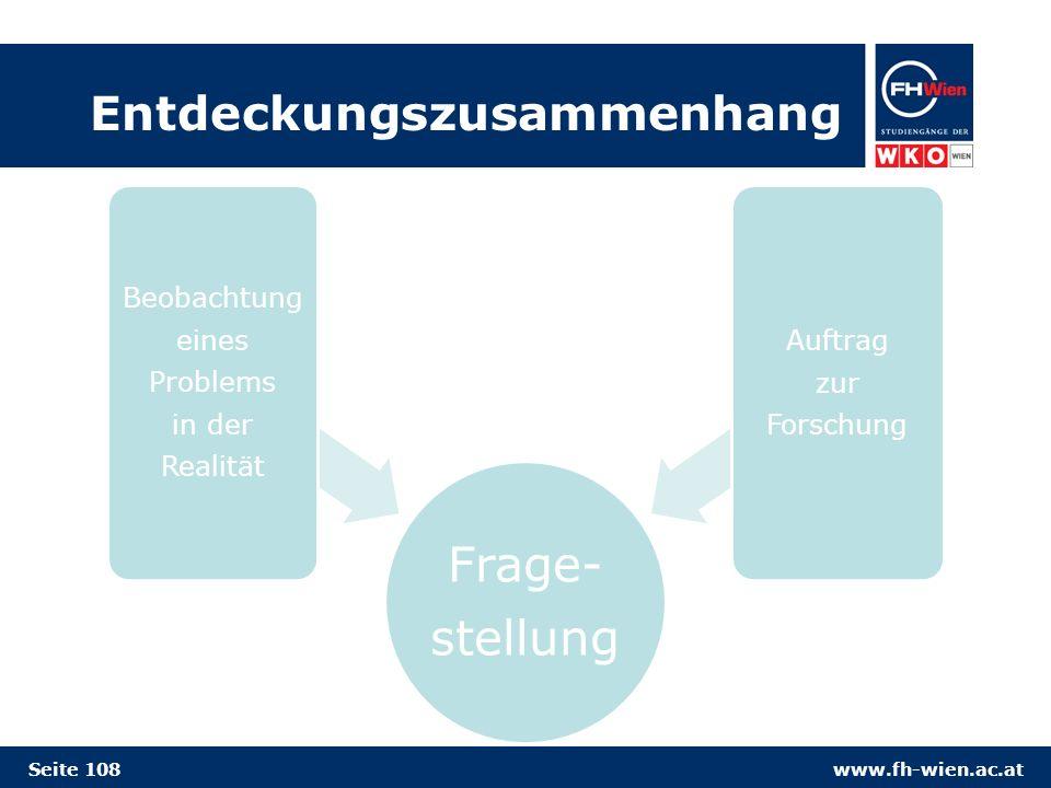 www.fh-wien.ac.at Entdeckungszusammenhang Frage- stellung Beobachtung eines Problems in der Realität Auftrag zur Forschung Seite 108