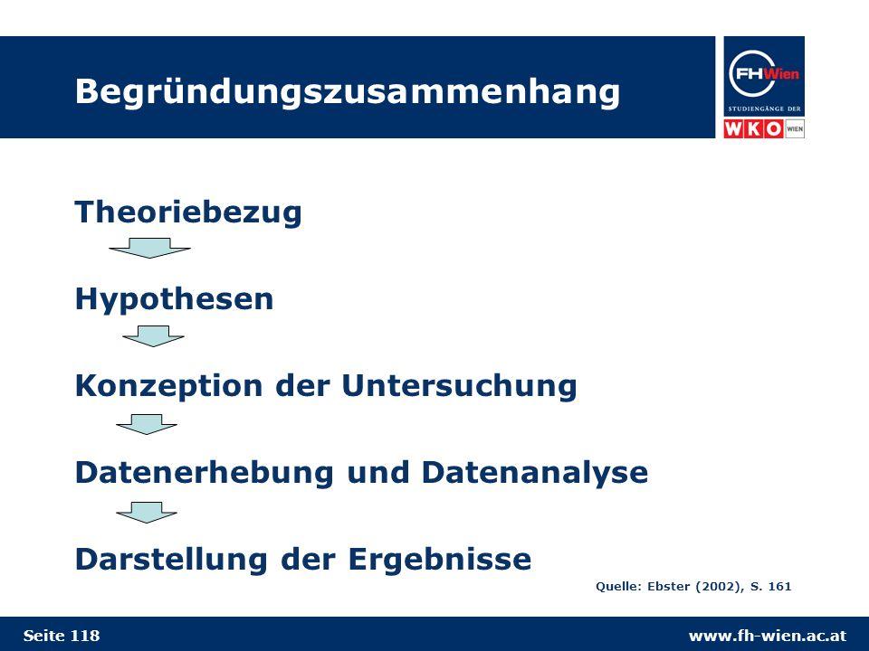www.fh-wien.ac.at Begründungszusammenhang Theoriebezug Hypothesen Konzeption der Untersuchung Datenerhebung und Datenanalyse Darstellung der Ergebnisse Quelle: Ebster (2002), S.