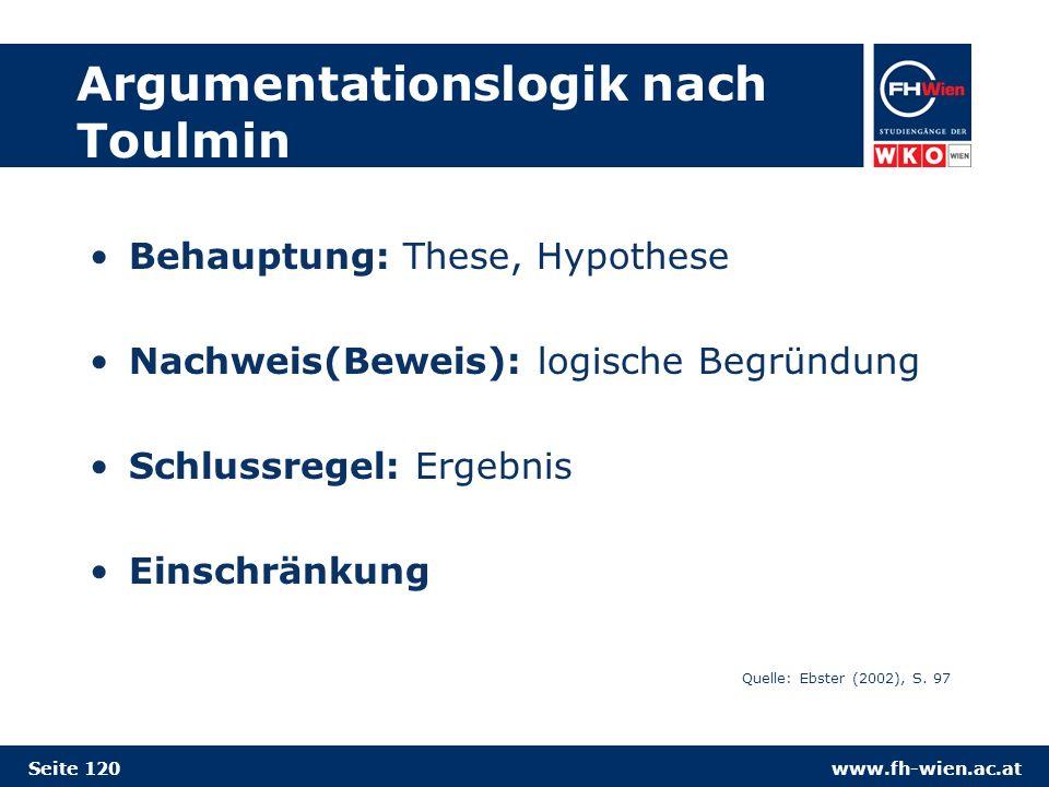 www.fh-wien.ac.at Argumentationslogik nach Toulmin Behauptung: These, Hypothese Nachweis(Beweis): logische Begründung Schlussregel: Ergebnis Einschränkung Quelle: Ebster (2002), S.