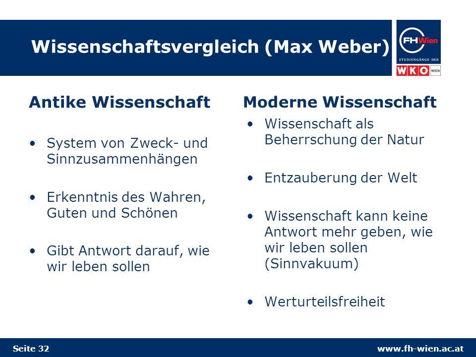 www.fh-wien.ac.at Wissenschaftsvergleich (Max Weber) Antike Wissenschaft System von Zweck- und Sinnzusammenhängen Erkenntnis des Wahren, Guten und Schönen Gibt Antwort darauf, wie wir leben sollen Moderne Wissenschaft Wissenschaft als Beherrschung der Natur Entzauberung der Welt Wissenschaft kann keine Antwort mehr geben, wie wir leben sollen (Sinnvakuum) Werturteilsfreiheit Seite 32