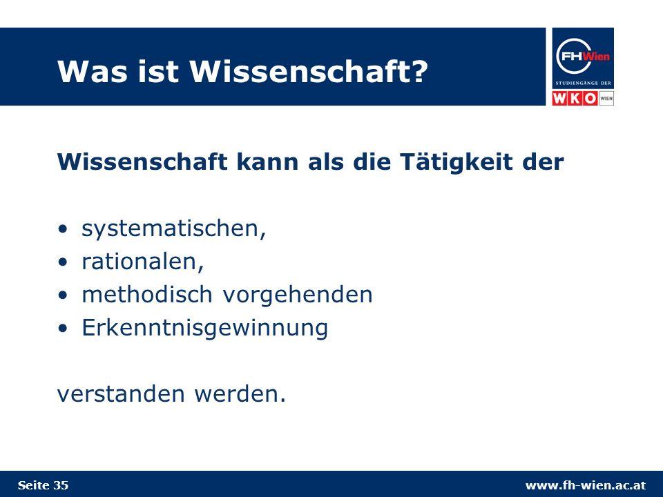 www.fh-wien.ac.at Was ist Wissenschaft.