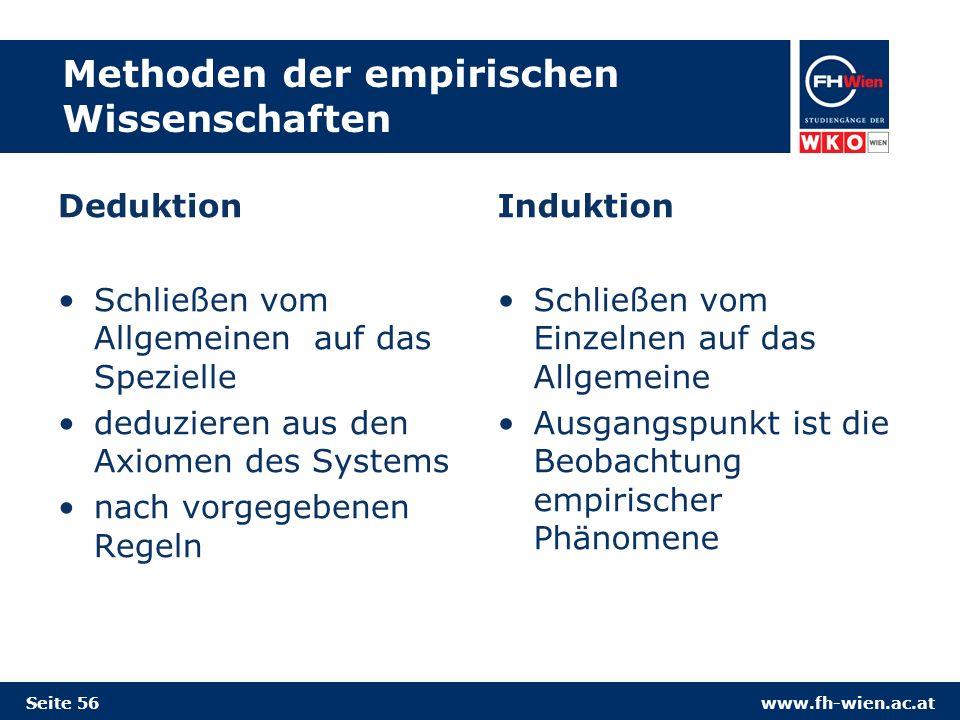 www.fh-wien.ac.at Methoden der empirischen Wissenschaften Deduktion Schließen vom Allgemeinen auf das Spezielle deduzieren aus den Axiomen des Systems nach vorgegebenen Regeln Induktion Schließen vom Einzelnen auf das Allgemeine Ausgangspunkt ist die Beobachtung empirischer Phänomene Seite 56