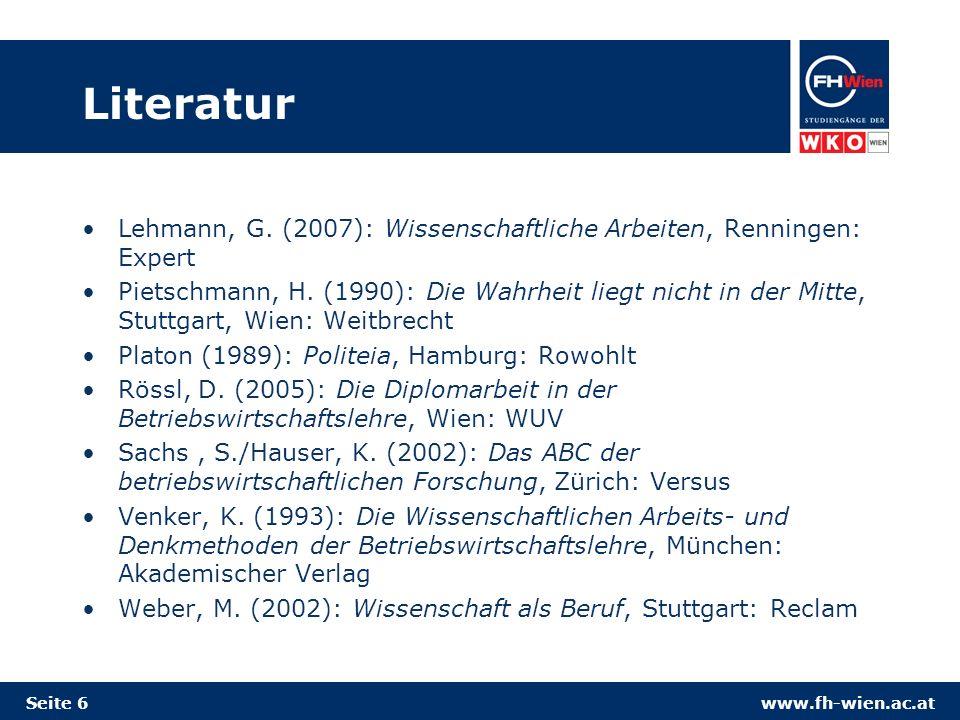 www.fh-wien.ac.at Literatur Lehmann, G.