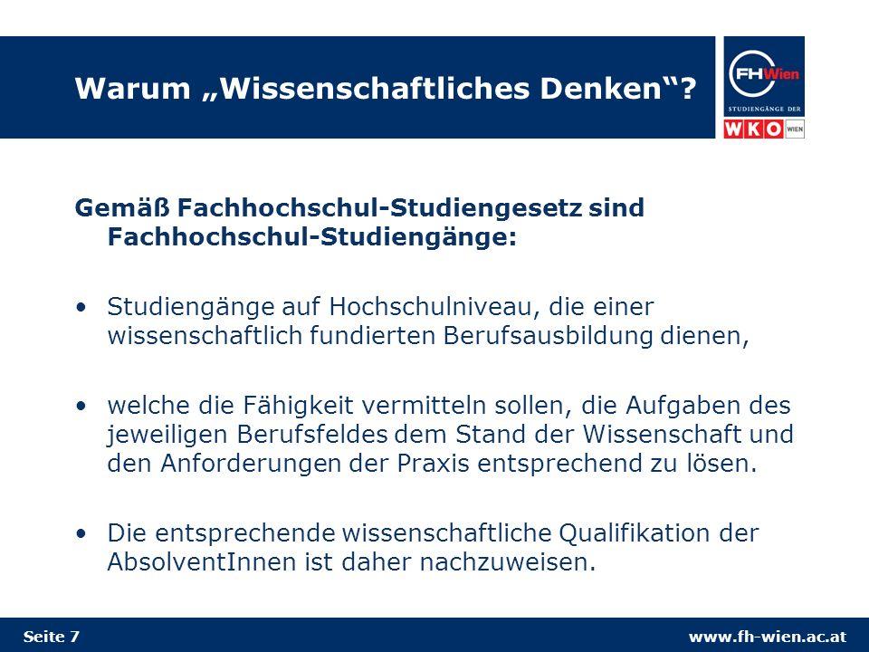 www.fh-wien.ac.at Warum Wissenschaftliches Denken.