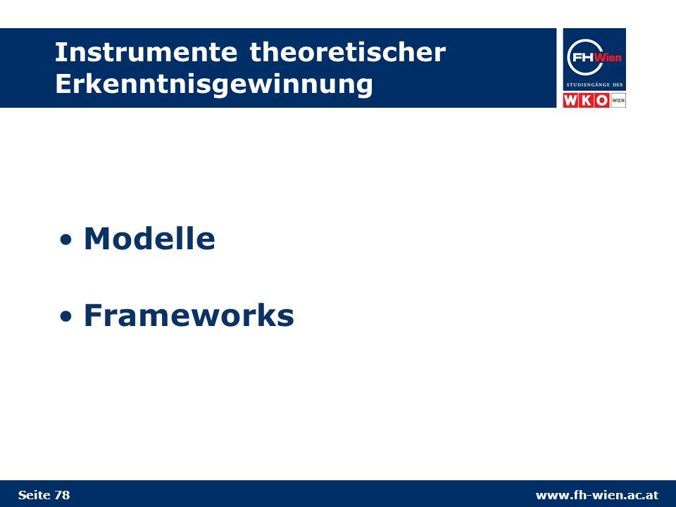 www.fh-wien.ac.at Instrumente theoretischer Erkenntnisgewinnung Modelle Frameworks Seite 78