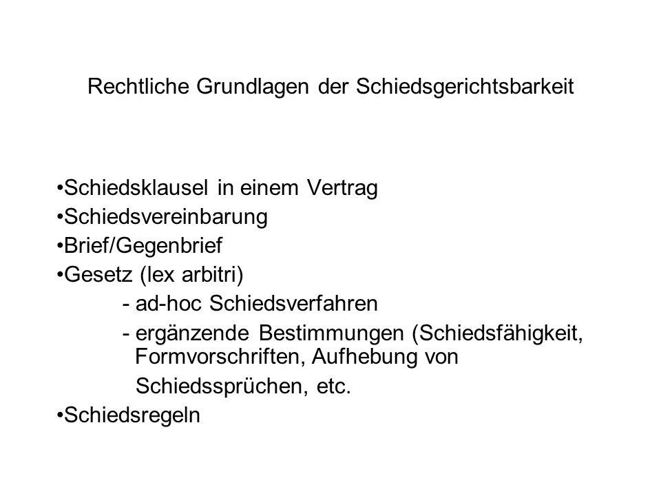 Rechtliche Grundlagen der Schiedsgerichtsbarkeit Schiedsklausel in einem Vertrag Schiedsvereinbarung Brief/Gegenbrief Gesetz (lex arbitri) - ad-hoc Sc