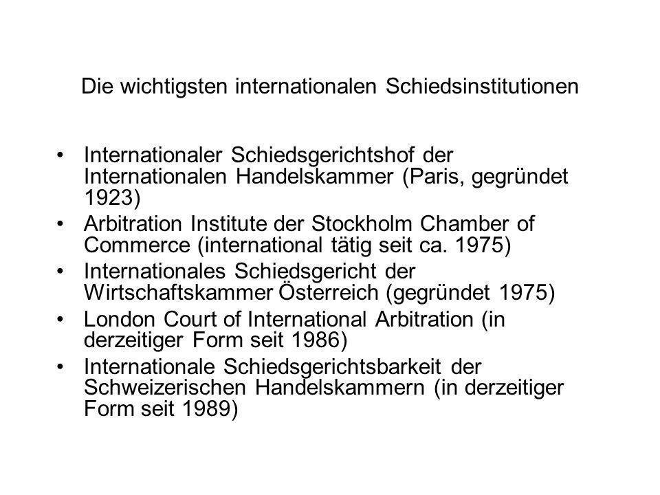 Die wichtigsten internationalen Schiedsinstitutionen Internationaler Schiedsgerichtshof der Internationalen Handelskammer (Paris, gegründet 1923) Arbi