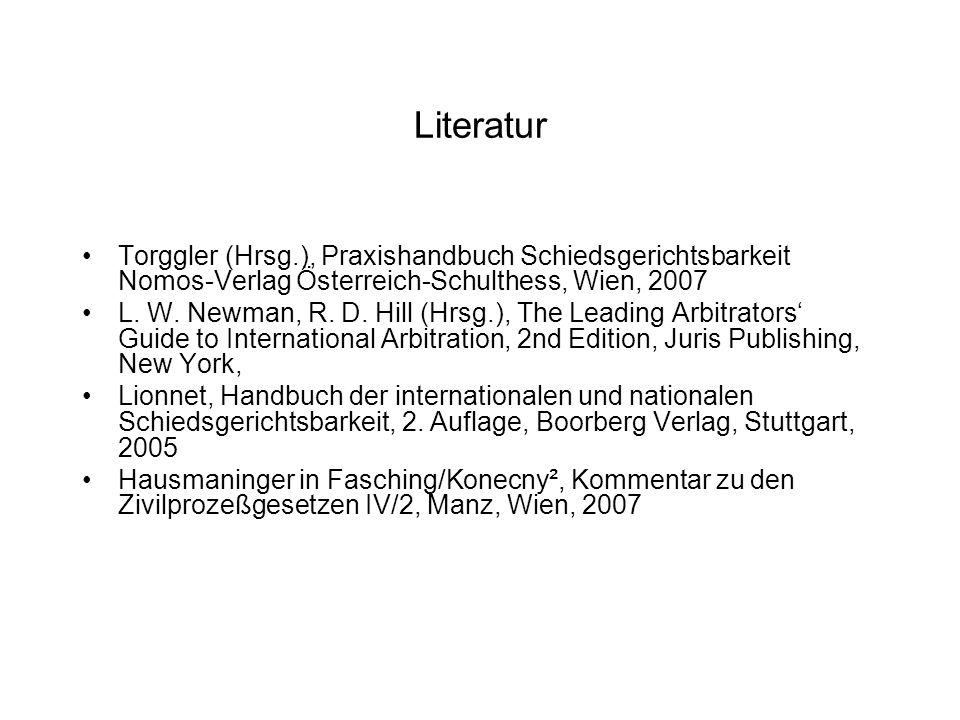 Ausgewählte Rechtsmaterien über Internationale Handelsschiedsgerichtsbarkeit UNCITRAL Modellgesetz über die Internationale Handelsschiedsgerichtsbarkeit (http://www.uncitral.org/pdf/english/texts/arbitration/ml-arb/07- 86998_Ebook.pdf) UNCITRAL Schiedsgerichtsordnung (http://www.uncitral.org/pdf/english/texts/arbitration/arb- rules/arb-rules.pdf) New Yorker Übereinkommen über die Anerkennung und Vollstreckung ausländischer Schiedssprüche vom 10.6.1958 (BGBl.