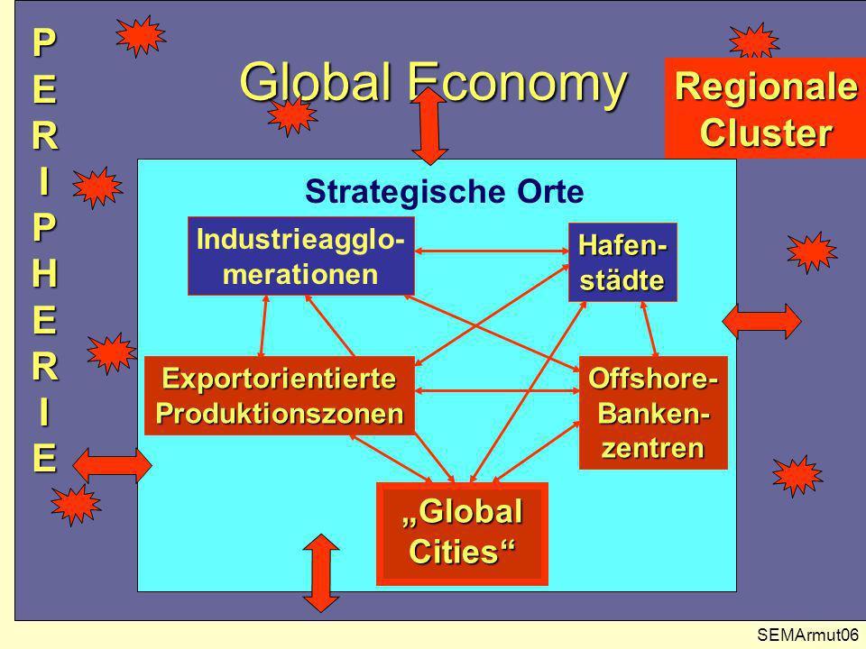 Dual Cities SEMArmut07 Sozioökonomische Polarisierung: Erste und dritte Welt grenzen auf engstem Raum unmittelbar anein- ander, Zentrum und Peripherie liegen in direkter Nachbarschaft (Beispiel: Frankfurt).