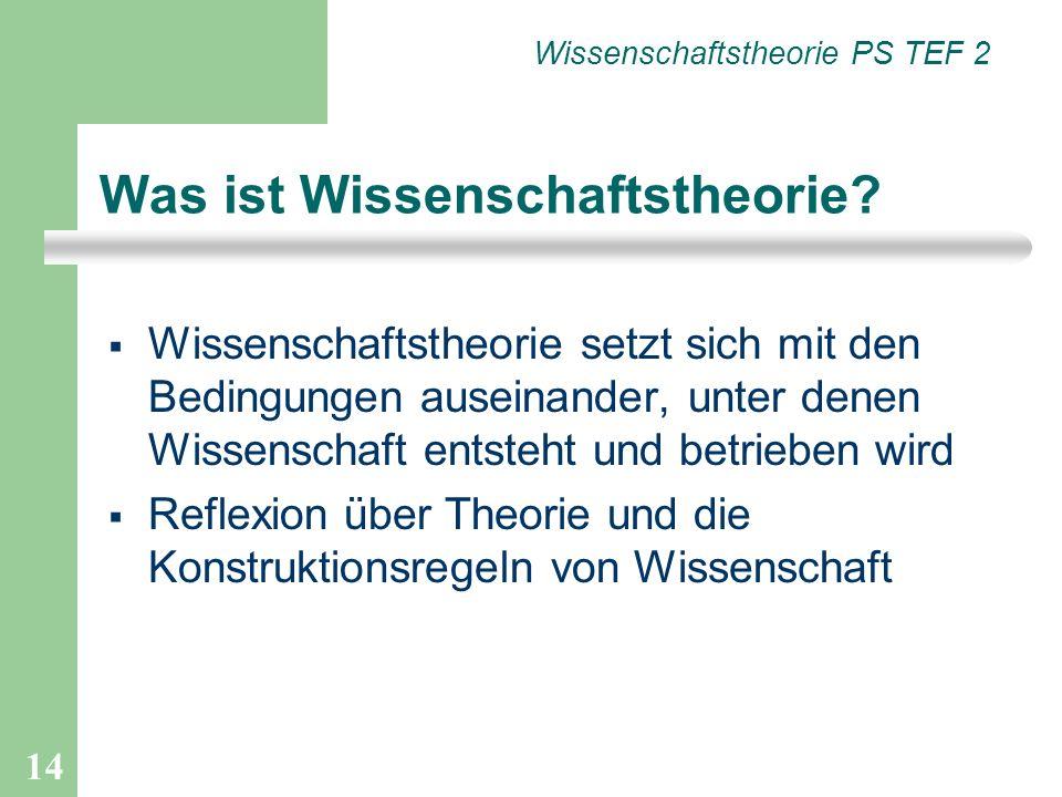 14 Wissenschaftstheorie setzt sich mit den Bedingungen auseinander, unter denen Wissenschaft entsteht und betrieben wird Reflexion über Theorie und di