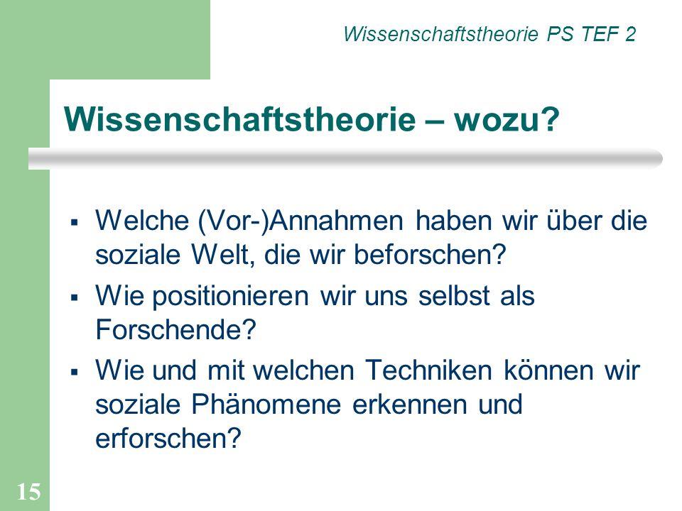 15 Welche (Vor-)Annahmen haben wir über die soziale Welt, die wir beforschen? Wie positionieren wir uns selbst als Forschende? Wie und mit welchen Tec