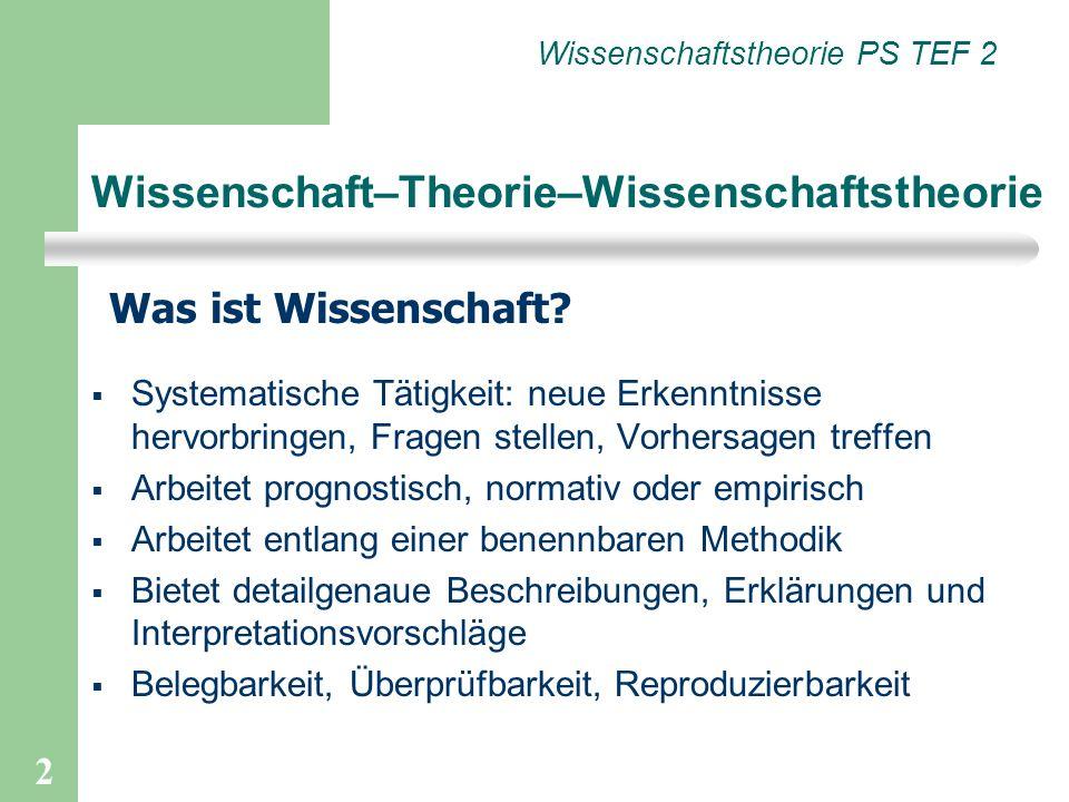 2 Wissenschaft–Theorie–Wissenschaftstheorie Was ist Wissenschaft? Wissenschaftstheorie PS TEF 2 Systematische Tätigkeit: neue Erkenntnisse hervorbring