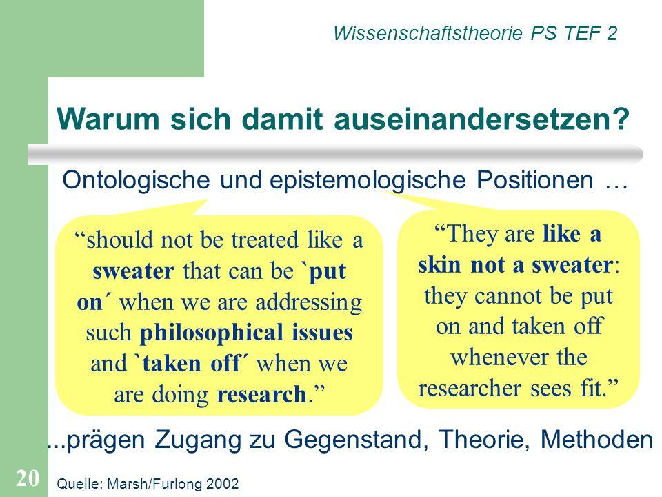 20 Wissenschaftstheorie PS TEF 2 Ontologische und epistemologische Positionen … Warum sich damit auseinandersetzen? They are like a skin not a sweater