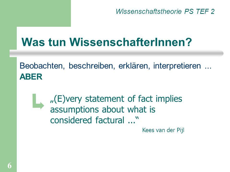 6 Was tun WissenschafterInnen? Wissenschaftstheorie PS TEF 2 (E)very statement of fact implies assumptions about what is considered factural... Kees v