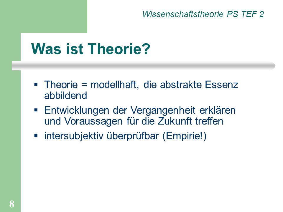 8 Was ist Theorie? Theorie = modellhaft, die abstrakte Essenz abbildend Entwicklungen der Vergangenheit erklären und Voraussagen für die Zukunft treff