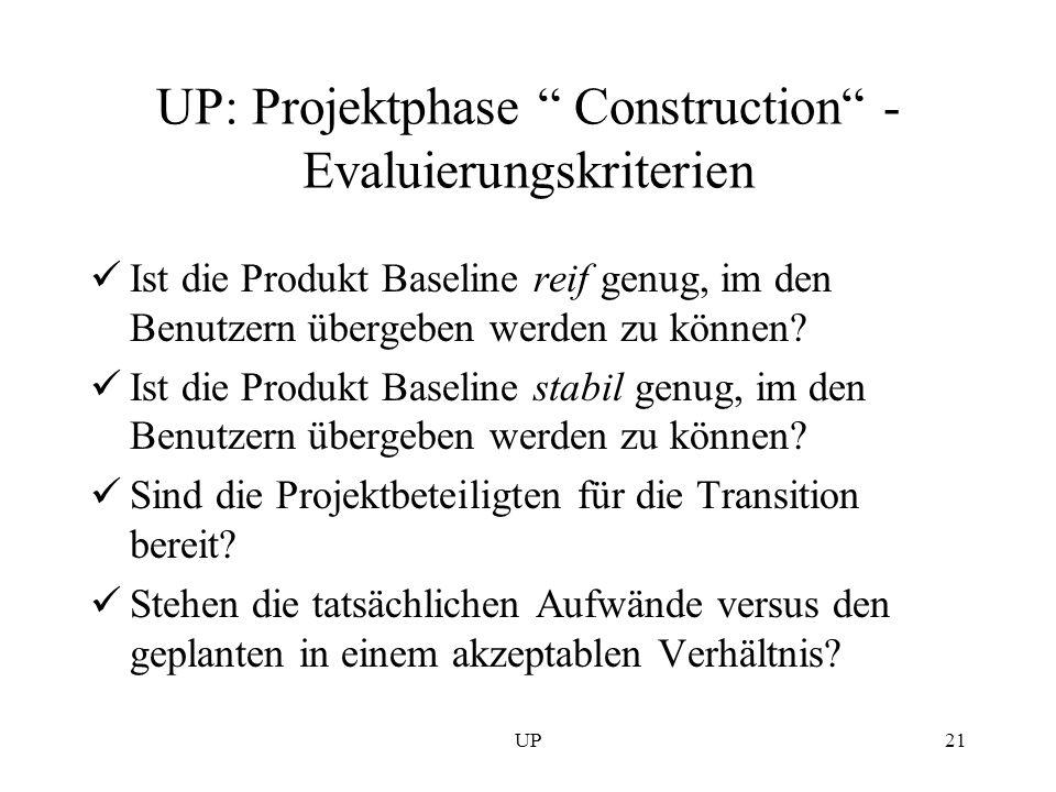 UP21 UP: Projektphase Construction - Evaluierungskriterien Ist die Produkt Baseline reif genug, im den Benutzern übergeben werden zu können? Ist die P