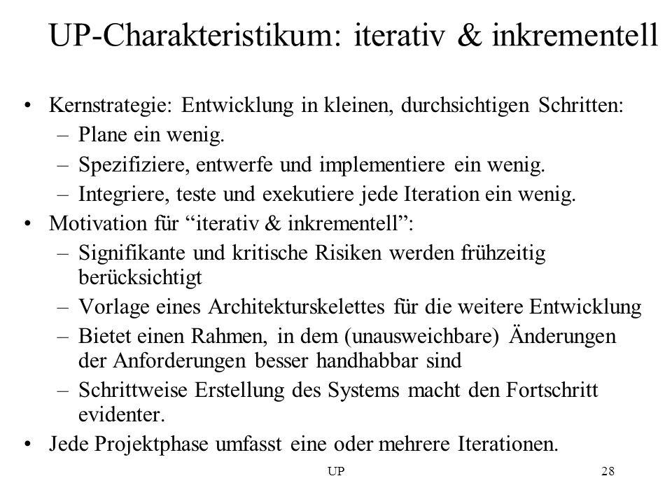 UP28 UP-Charakteristikum: iterativ & inkrementell Kernstrategie: Entwicklung in kleinen, durchsichtigen Schritten: –Plane ein wenig. –Spezifiziere, en