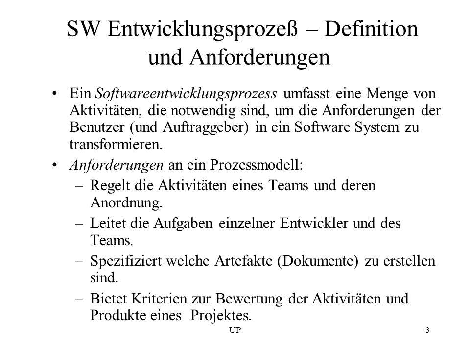 UP3 SW Entwicklungsprozeß – Definition und Anforderungen Ein Softwareentwicklungsprozess umfasst eine Menge von Aktivitäten, die notwendig sind, um di