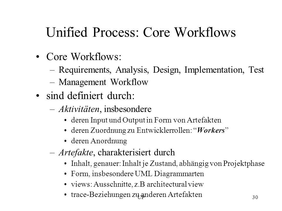 UP30 Unified Process: Core Workflows Core Workflows: –Requirements, Analysis, Design, Implementation, Test –Management Workflow sind definiert durch: