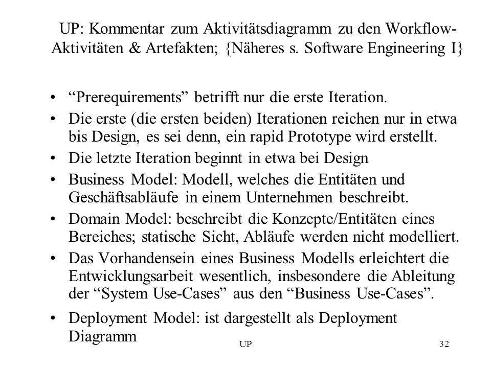 UP32 UP: Kommentar zum Aktivitätsdiagramm zu den Workflow- Aktivitäten & Artefakten; {Näheres s. Software Engineering I} Prerequirements betrifft nur