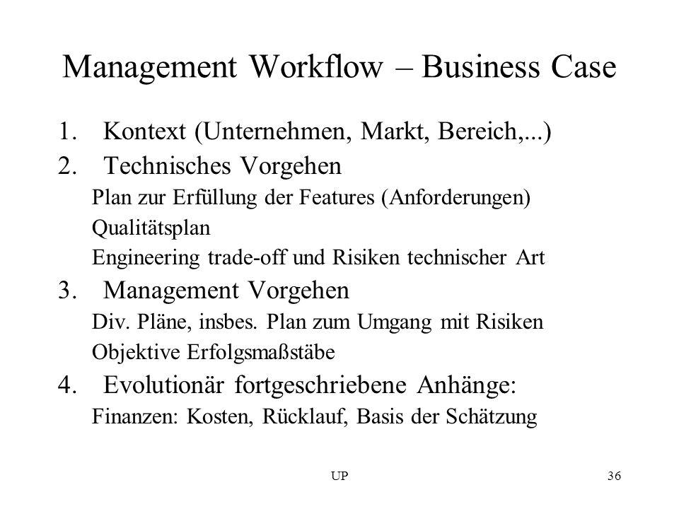 UP36 Management Workflow – Business Case 1.Kontext (Unternehmen, Markt, Bereich,...) 2.Technisches Vorgehen Plan zur Erfüllung der Features (Anforderu
