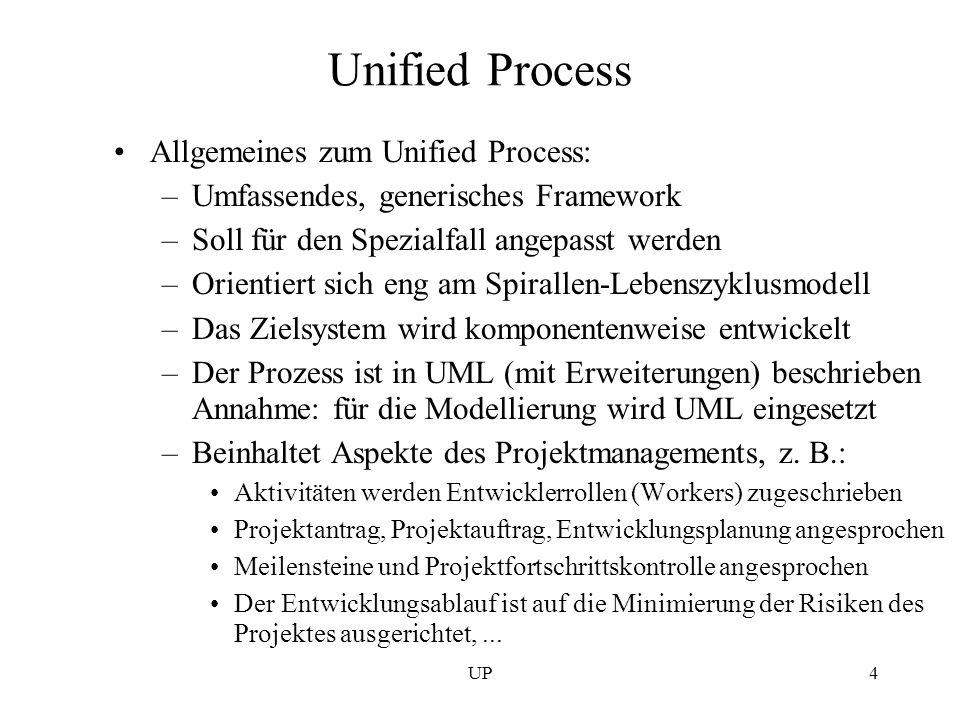 UP4 Unified Process Allgemeines zum Unified Process: –Umfassendes, generisches Framework –Soll für den Spezialfall angepasst werden –Orientiert sich e