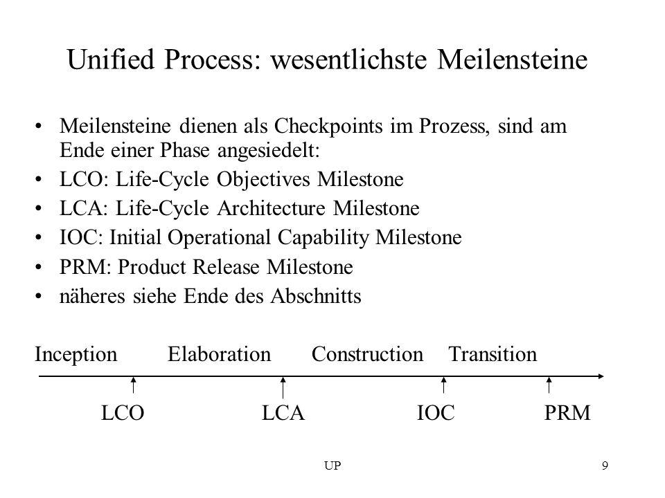 UP9 Unified Process: wesentlichste Meilensteine Meilensteine dienen als Checkpoints im Prozess, sind am Ende einer Phase angesiedelt: LCO: Life-Cycle