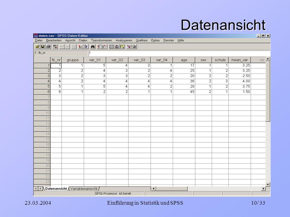 23.03.2004Einführung in Statistik und SPSS10/ 33 Datenansicht