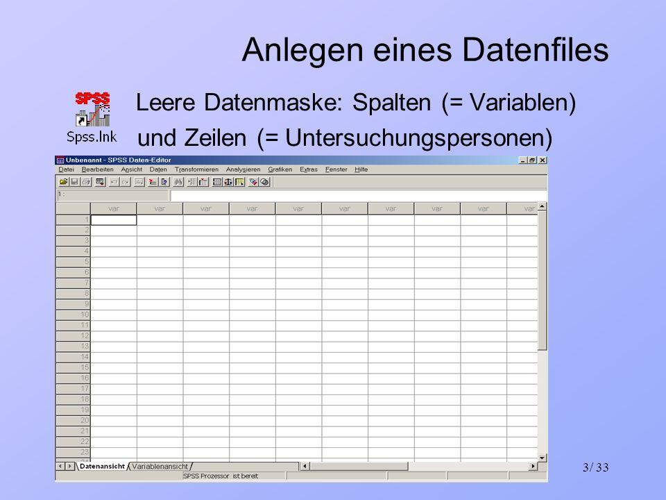 23.03.2004Einführung in Statistik und SPSS3/ 33 Anlegen eines Datenfiles Leere Datenmaske: Spalten (= Variablen) und Zeilen (= Untersuchungspersonen)