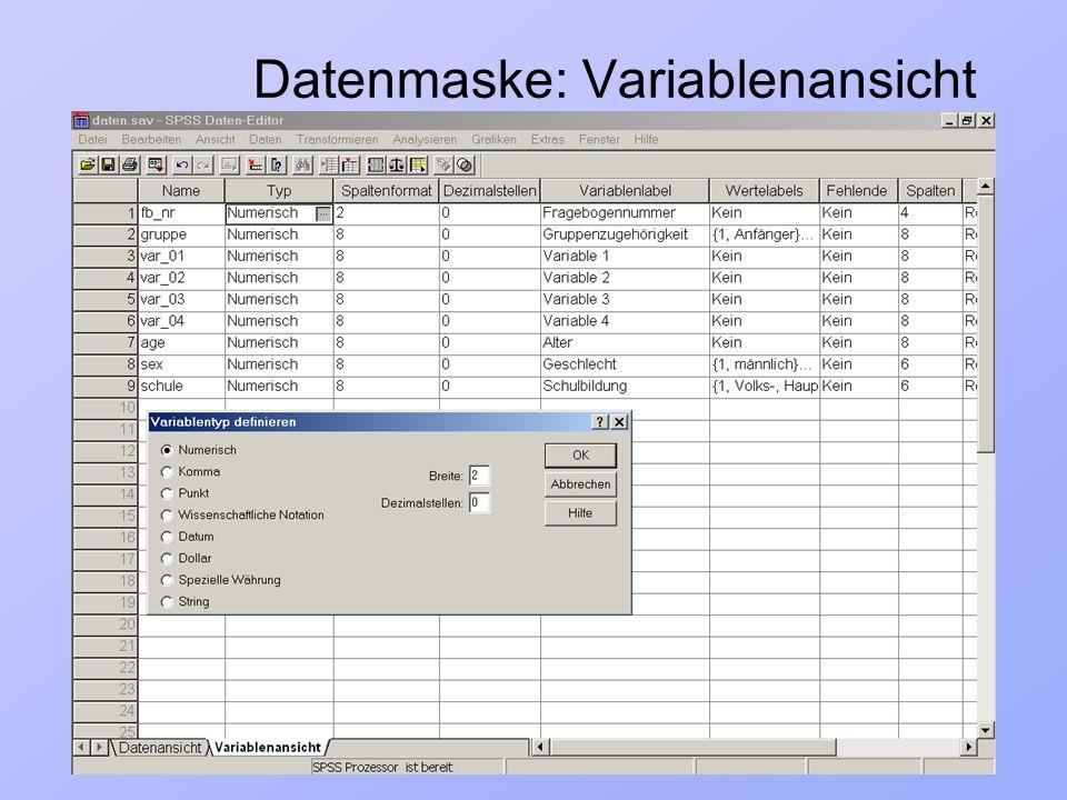23.03.2004Einführung in Statistik und SPSS6/ 33 Datenmaske: Variablenansicht Wertelabels: z.B.
