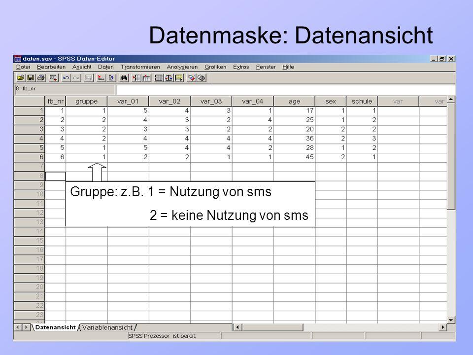 23.03.2004Einführung in Statistik und SPSS7/ 33 Datenmaske: Datenansicht Gruppe: z.B. 1 = Nutzung von sms 2 = keine Nutzung von sms