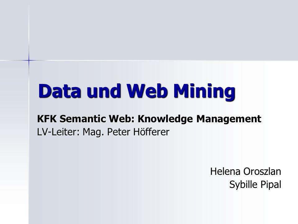Data und Web Mining KFK Semantic Web: Knowledge Management LV-Leiter: Mag. Peter Höfferer Helena Oroszlan Sybille Pipal