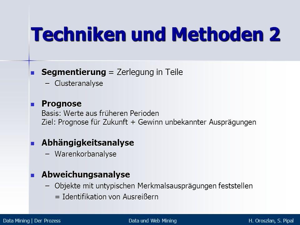 Techniken und Methoden 2 Segmentierung = Zerlegung in Teile Segmentierung = Zerlegung in Teile –Clusteranalyse Prognose Basis: Werte aus früheren Peri