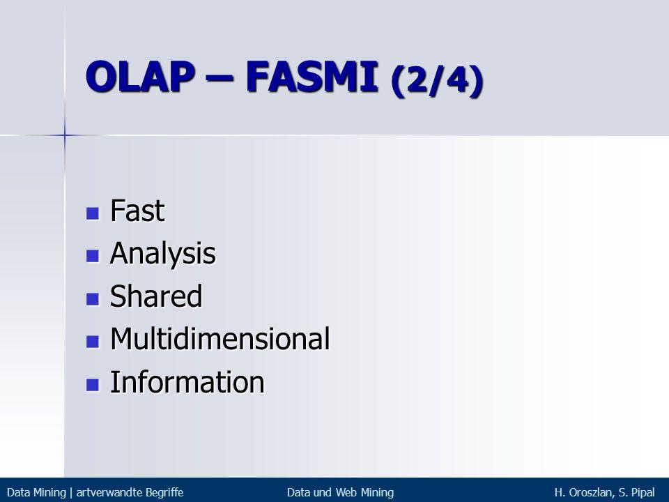 OLAP – FASMI (2/4) Fast Fast Analysis Analysis Shared Shared Multidimensional Multidimensional Information Information Data Mining | artverwandte Begr