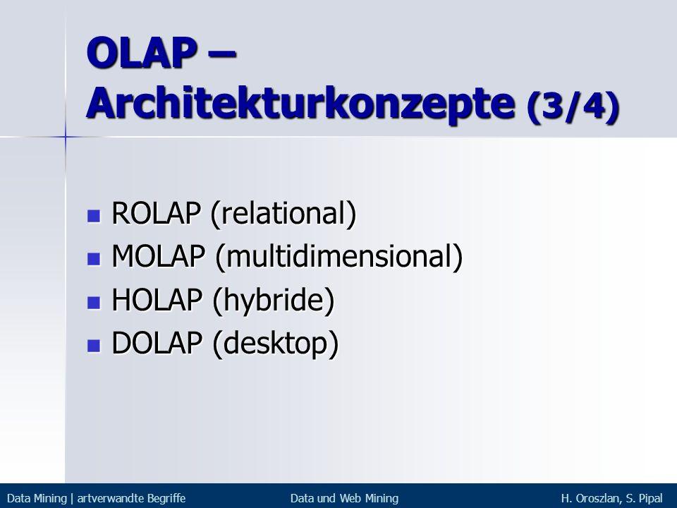 OLAP – Architekturkonzepte (3/4) ROLAP (relational) ROLAP (relational) MOLAP (multidimensional) MOLAP (multidimensional) HOLAP (hybride) HOLAP (hybrid