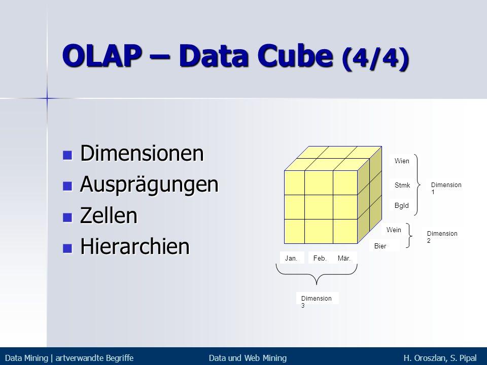 OLAP – Data Cube (4/4) Dimensionen Dimensionen Ausprägungen Ausprägungen Zellen Zellen Hierarchien Hierarchien Wien Stmk Bgld Dimension 1 Wein Bier Di