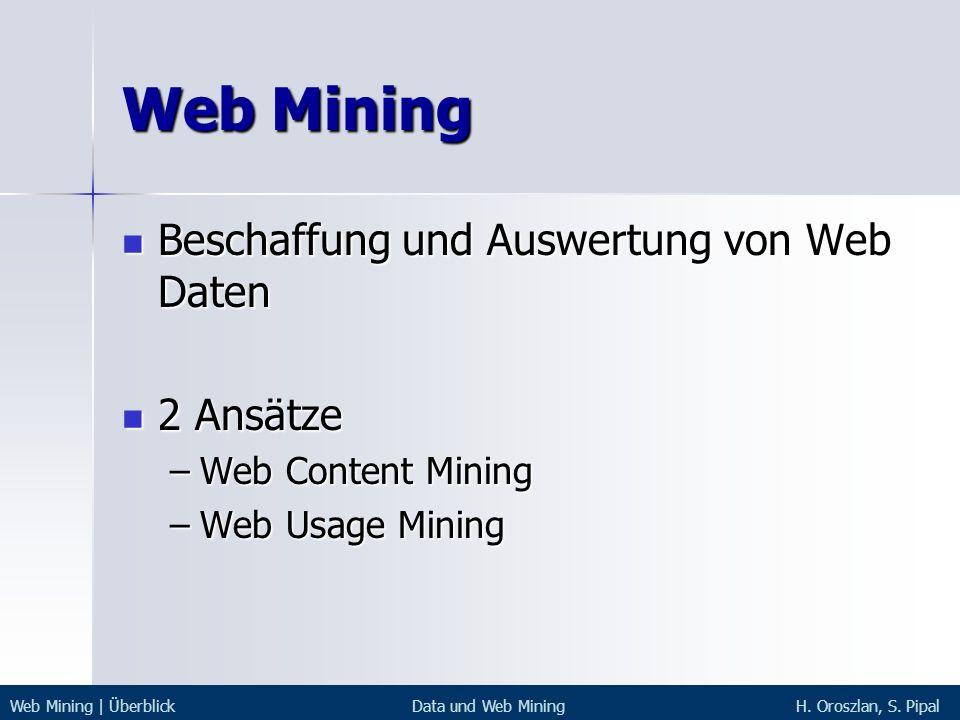 Web Mining Beschaffung und Auswertung von Web Daten Beschaffung und Auswertung von Web Daten 2 Ansätze 2 Ansätze –Web Content Mining –Web Usage Mining