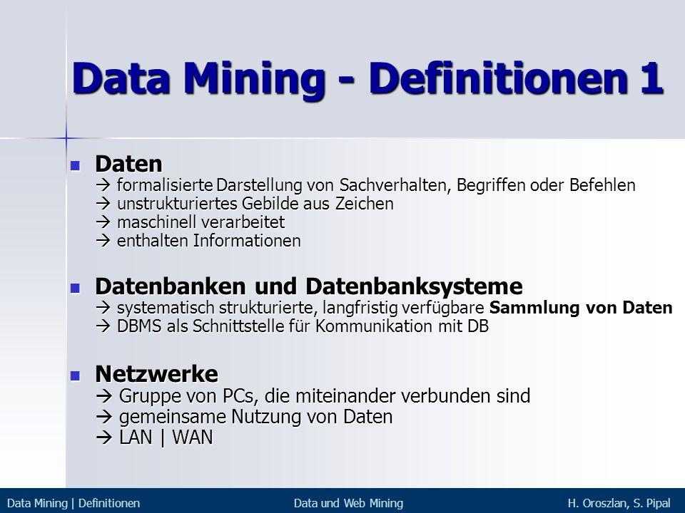 Data Mining - Definitionen 1 Daten formalisierte Darstellung von Sachverhalten, Begriffen oder Befehlen unstrukturiertes Gebilde aus Zeichen maschinel
