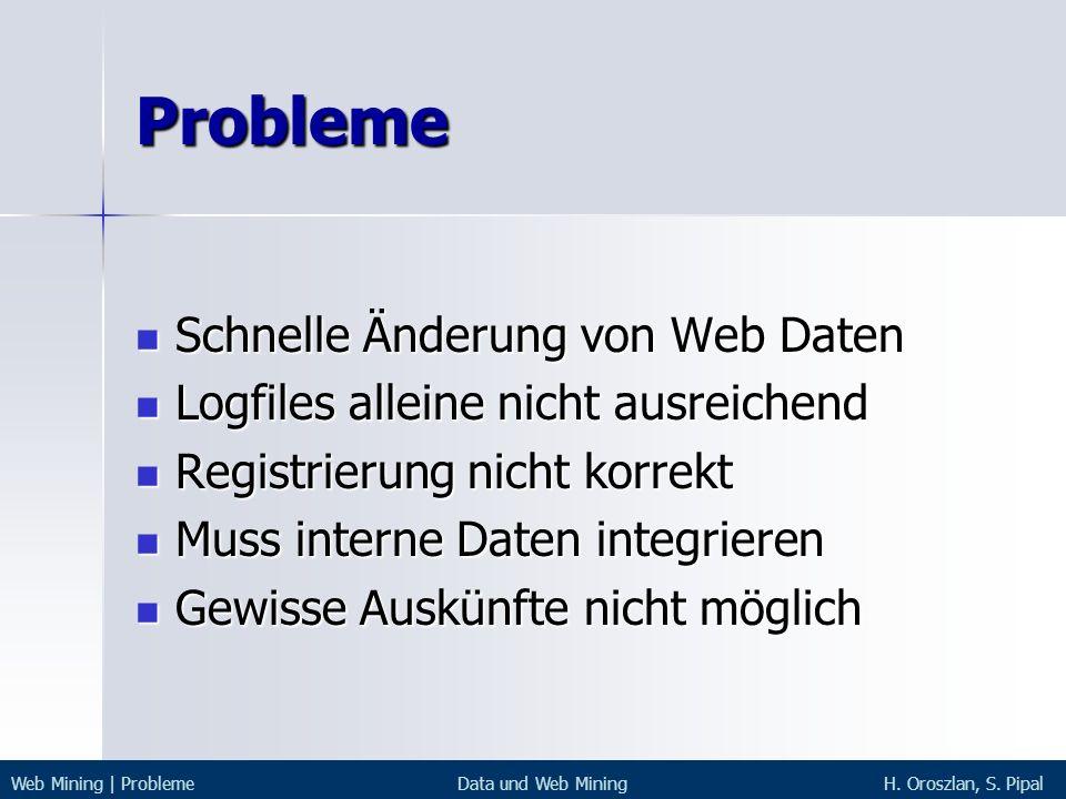 Probleme Schnelle Änderung von Web Daten Schnelle Änderung von Web Daten Logfiles alleine nicht ausreichend Logfiles alleine nicht ausreichend Registr