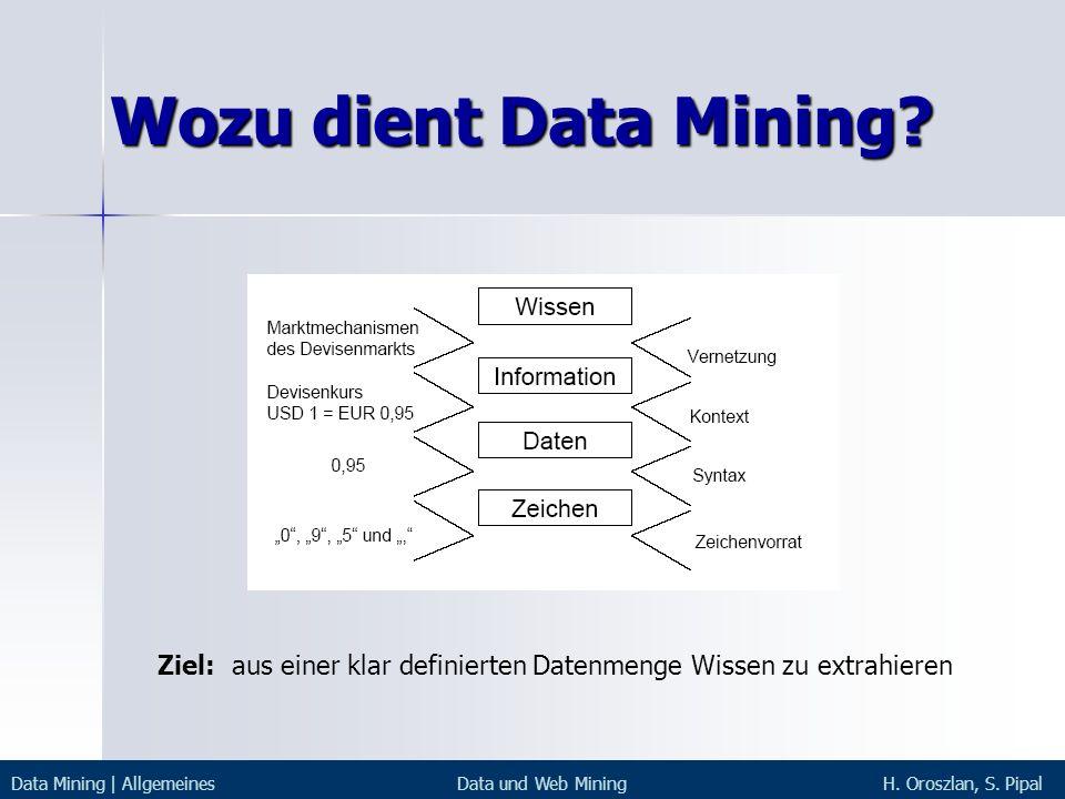 Wozu dient Data Mining? Data Mining | AllgemeinesData und Web MiningH. Oroszlan, S. Pipal Ziel: aus einer klar definierten Datenmenge Wissen zu extrah