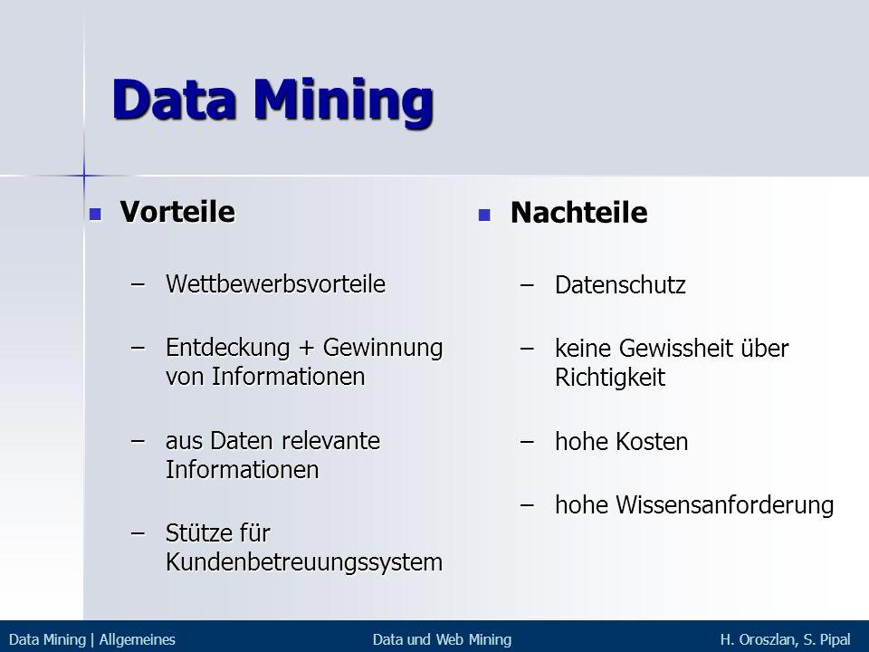 Data Mining Vorteile Vorteile – Wettbewerbsvorteile – Entdeckung + Gewinnung von Informationen – aus Daten relevante Informationen – Stütze für Kunden