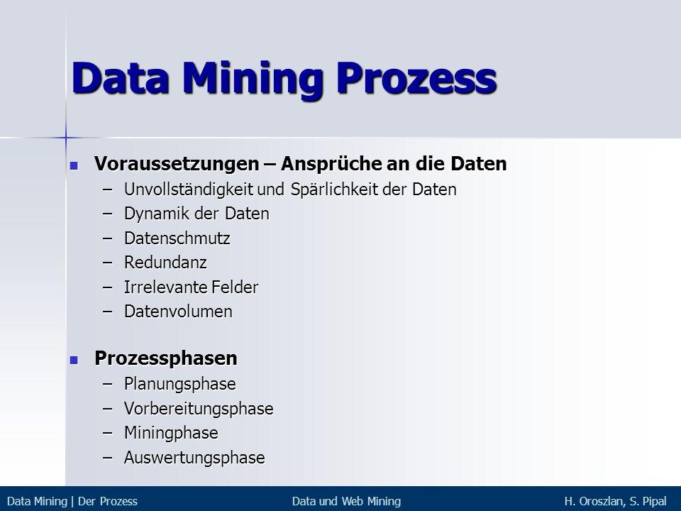 Data Mining Prozess Voraussetzungen – Ansprüche an die Daten Voraussetzungen – Ansprüche an die Daten –Unvollständigkeit und Spärlichkeit der Daten –D