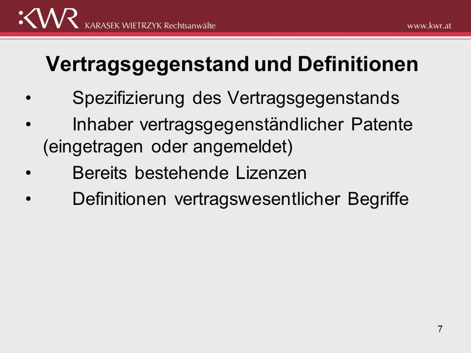 7 Vertragsgegenstand und Definitionen Spezifizierung des Vertragsgegenstands Inhaber vertragsgegenständlicher Patente (eingetragen oder angemeldet) Be