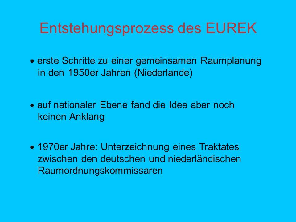 Entstehungsprozess des EUREK erste Schritte zu einer gemeinsamen Raumplanung in den 1950er Jahren (Niederlande) auf nationaler Ebene fand die Idee aber noch keinen Anklang 1970er Jahre: Unterzeichnung eines Traktates zwischen den deutschen und niederländischen Raumordnungskommissaren