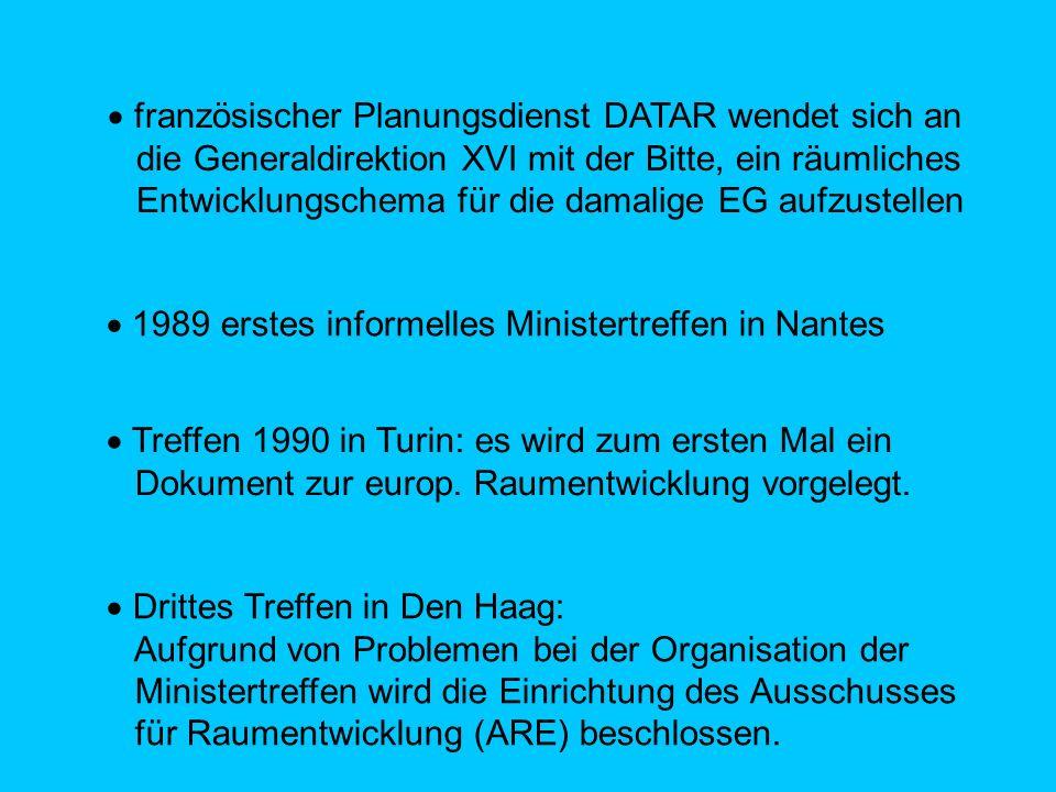 französischer Planungsdienst DATAR wendet sich an die Generaldirektion XVI mit der Bitte, ein räumliches Entwicklungschema für die damalige EG aufzustellen 1989 erstes informelles Ministertreffen in Nantes Treffen 1990 in Turin: es wird zum ersten Mal ein Dokument zur europ.