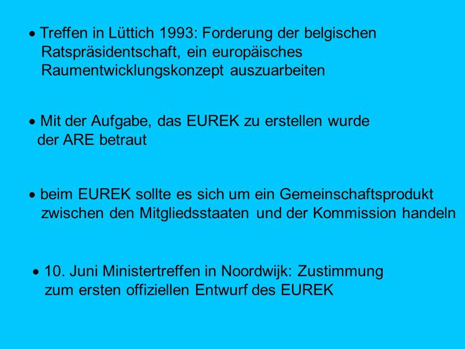 Treffen in Lüttich 1993: Forderung der belgischen Ratspräsidentschaft, ein europäisches Raumentwicklungskonzept auszuarbeiten Mit der Aufgabe, das EUREK zu erstellen wurde der ARE betraut beim EUREK sollte es sich um ein Gemeinschaftsprodukt zwischen den Mitgliedsstaaten und der Kommission handeln 10.