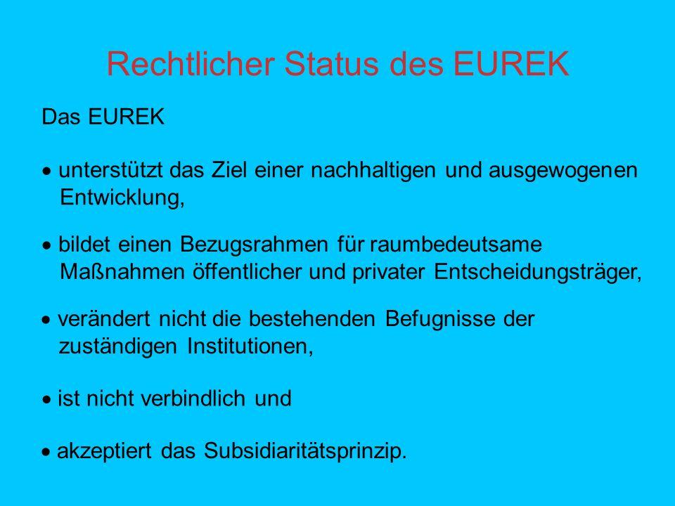 Rechtlicher Status des EUREK unterstützt das Ziel einer nachhaltigen und ausgewogenen Entwicklung, bildet einen Bezugsrahmen für raumbedeutsame Maßnahmen öffentlicher und privater Entscheidungsträger, verändert nicht die bestehenden Befugnisse der zuständigen Institutionen, ist nicht verbindlich und akzeptiert das Subsidiaritätsprinzip.