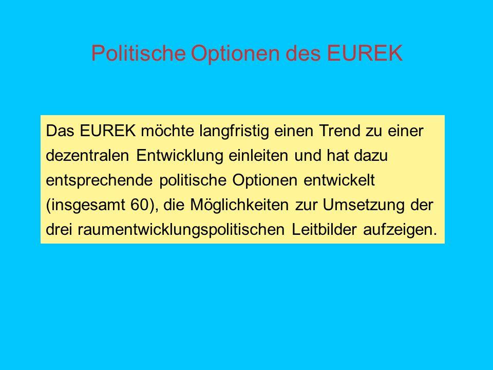 Politische Optionen des EUREK Das EUREK möchte langfristig einen Trend zu einer dezentralen Entwicklung einleiten und hat dazu entsprechende politische Optionen entwickelt (insgesamt 60), die Möglichkeiten zur Umsetzung der drei raumentwicklungspolitischen Leitbilder aufzeigen.