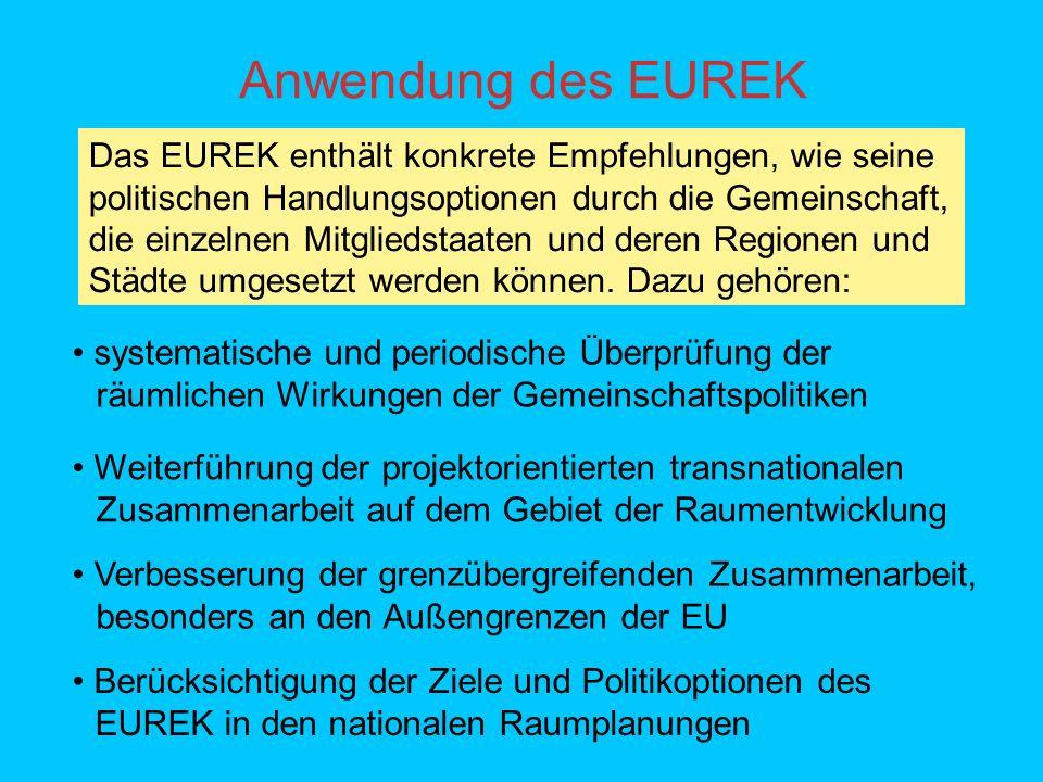 Anwendung des EUREK Das EUREK enthält konkrete Empfehlungen, wie seine politischen Handlungsoptionen durch die Gemeinschaft, die einzelnen Mitgliedstaaten und deren Regionen und Städte umgesetzt werden können.